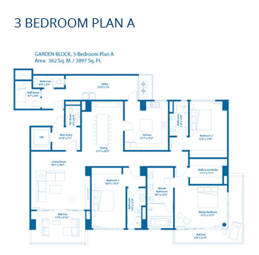 Embassy Lake Terraces Floor Plans - 3 Bedroom Plan A