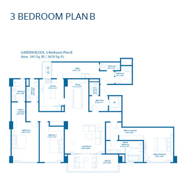 Embassy Lake Terraces Floor Plans - 3 Bedroom Plan B